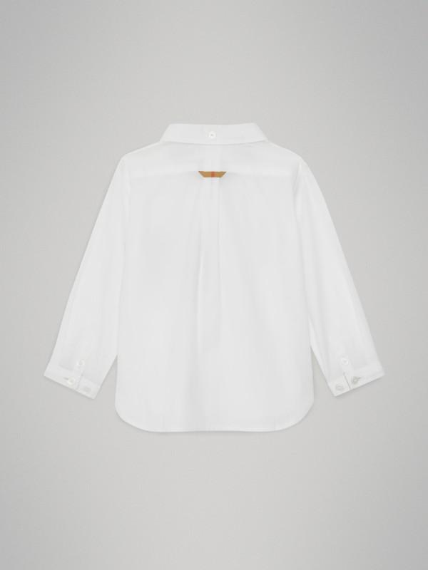 Camisa Oxford de algodão com detalhe xadrez (Branco) - Crianças | Burberry - cell image 3