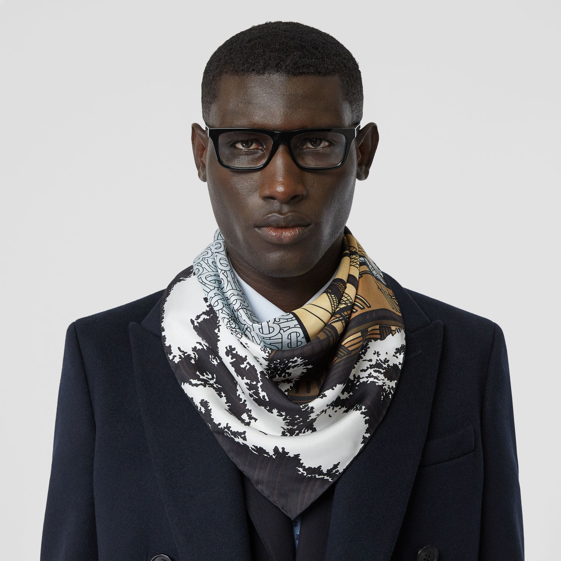 Ship Print Silk Twill Square Scarf in Pale Blue | Burberry - gallery image 2