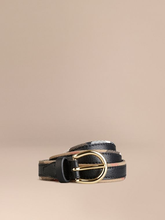 House Check and Bridle Leather Belt Black