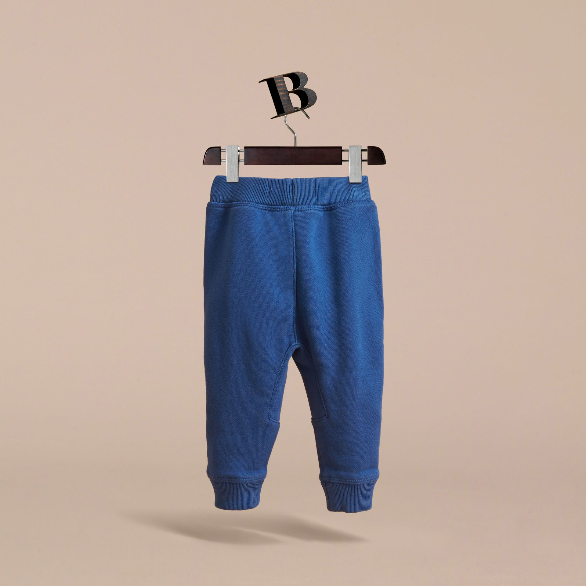 Drawcord Cotton Sweatpants in Marine Blue | Burberry - gallery image 4