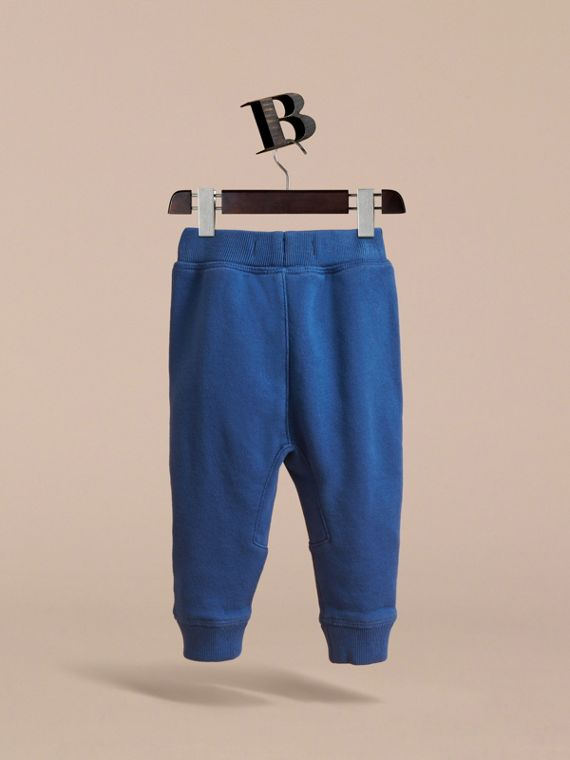 Drawcord Cotton Sweatpants in Marine Blue | Burberry - cell image 3