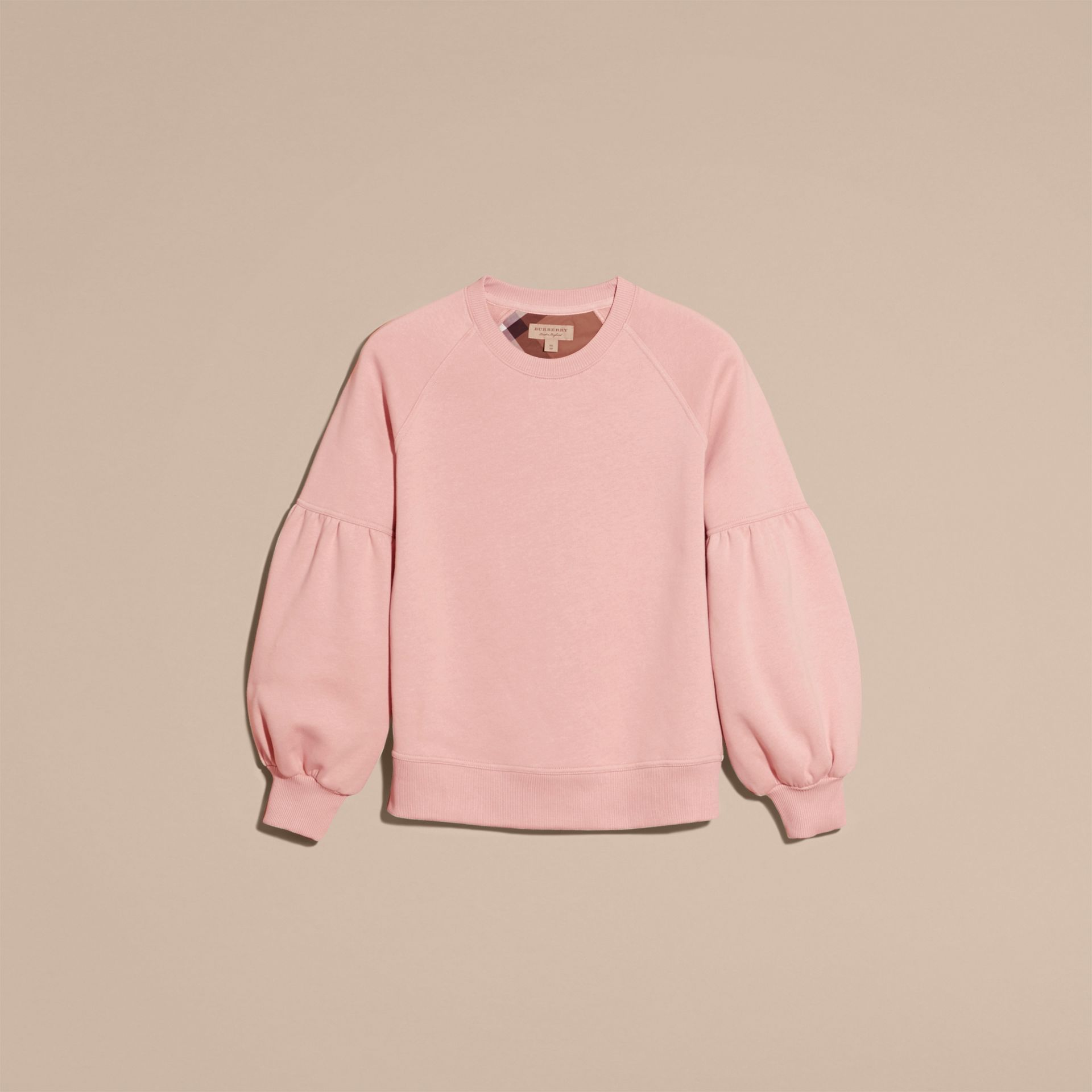 Sweat-shirt en jersey avec manches bouffantes (Rose Platiné) - Femme | Burberry - photo de la galerie 4