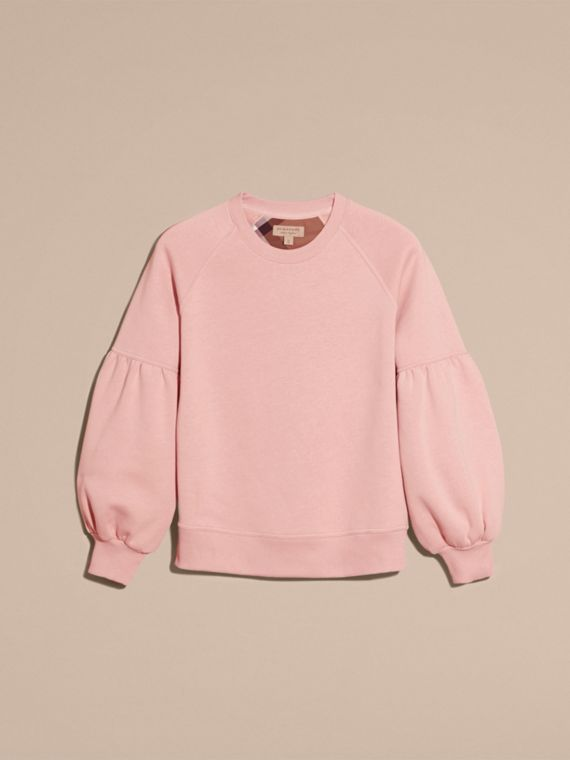 Sweat-shirt en jersey brossé avec manches cloches Rose Cendré - cell image 3