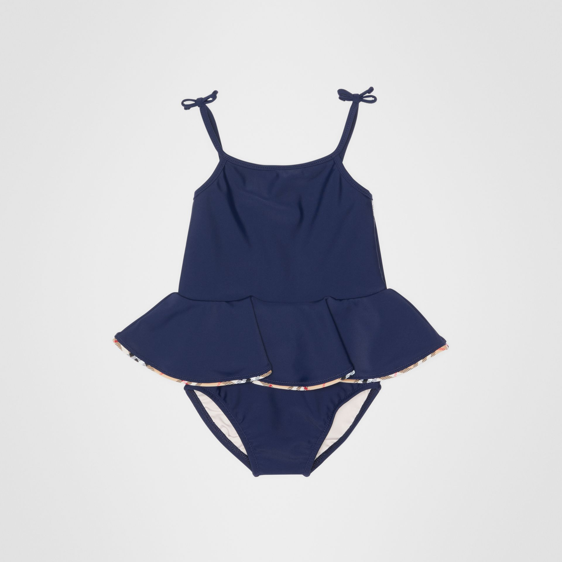 Check Detail Peplum One-piece Swimsuit in Navy - Children | Burberry Canada - gallery image 0
