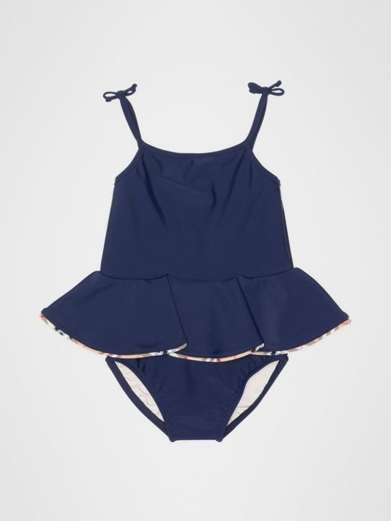 Check Detail Peplum One-piece Swimsuit in Navy