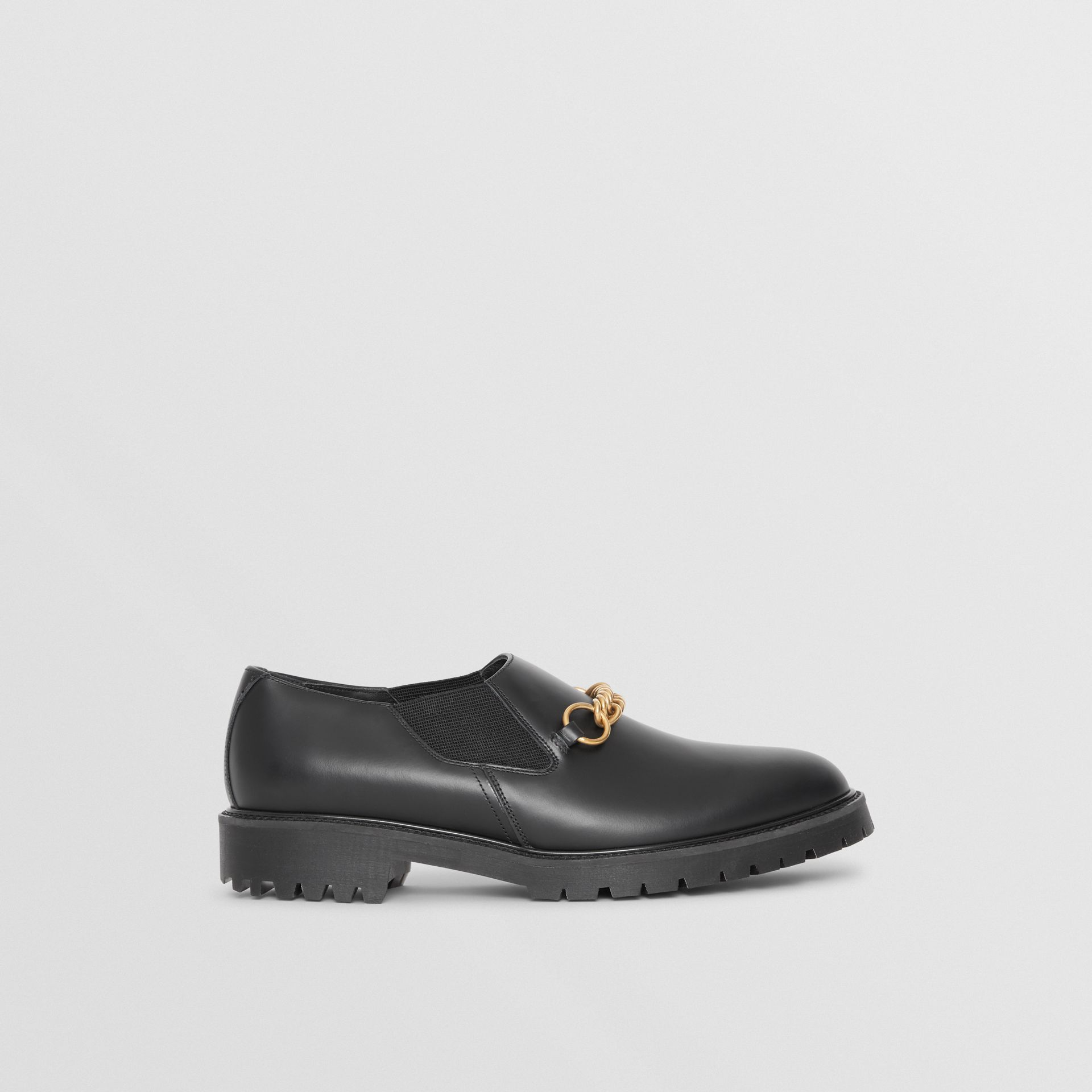 Link Detail Leather Shoe in Black - Men | Burberry United States - gallery image 5
