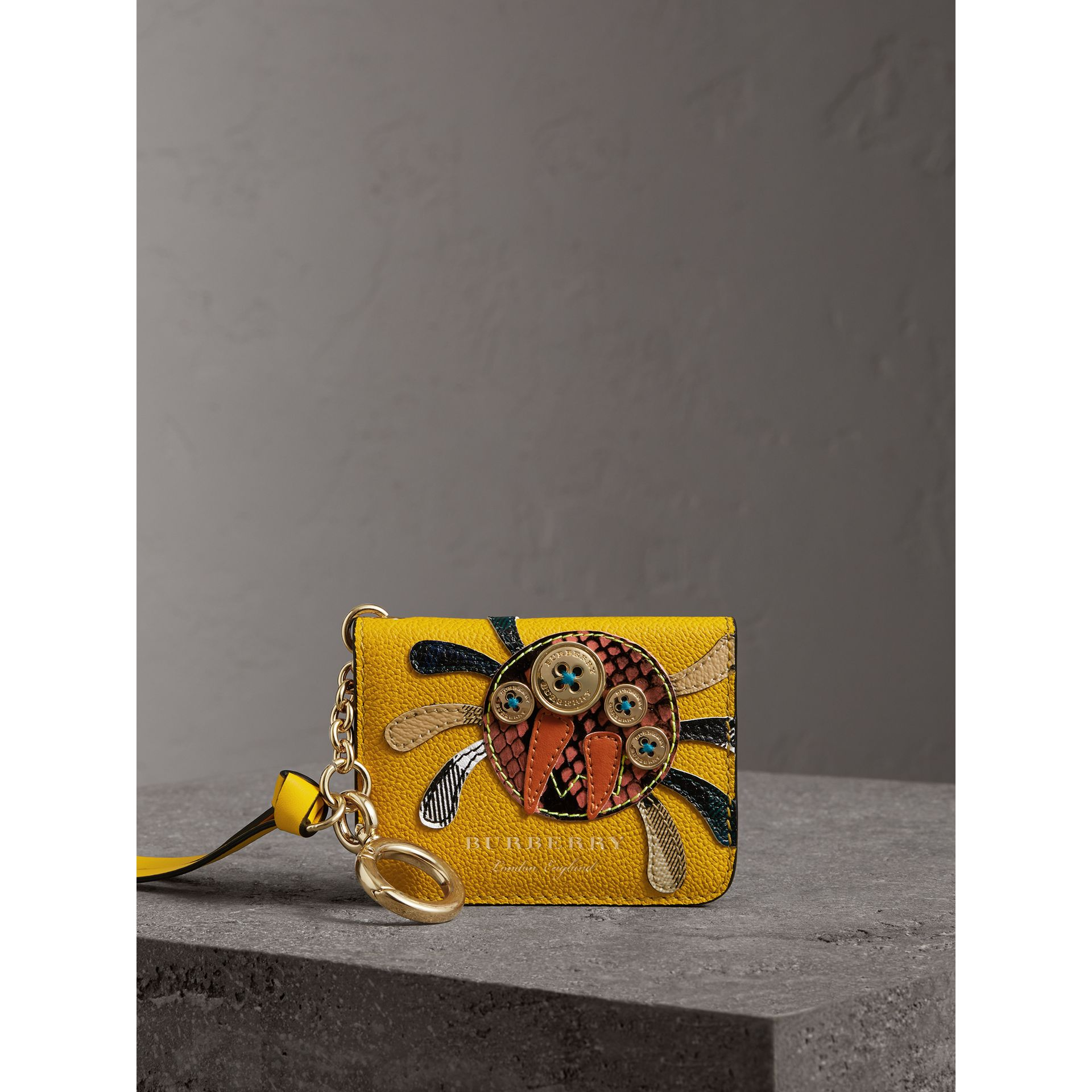Creature Motif Leather ID Card Case Charm in Yellow Ochre - Women | Burberry - gallery image 4