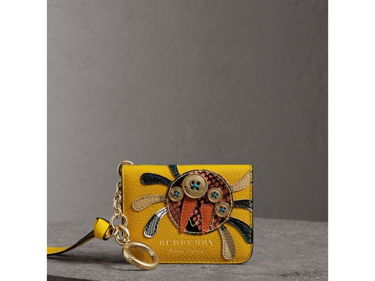 Creature Motif Leather ID Card Case Charm in Yellow Ochre | Burberry - cell image 4