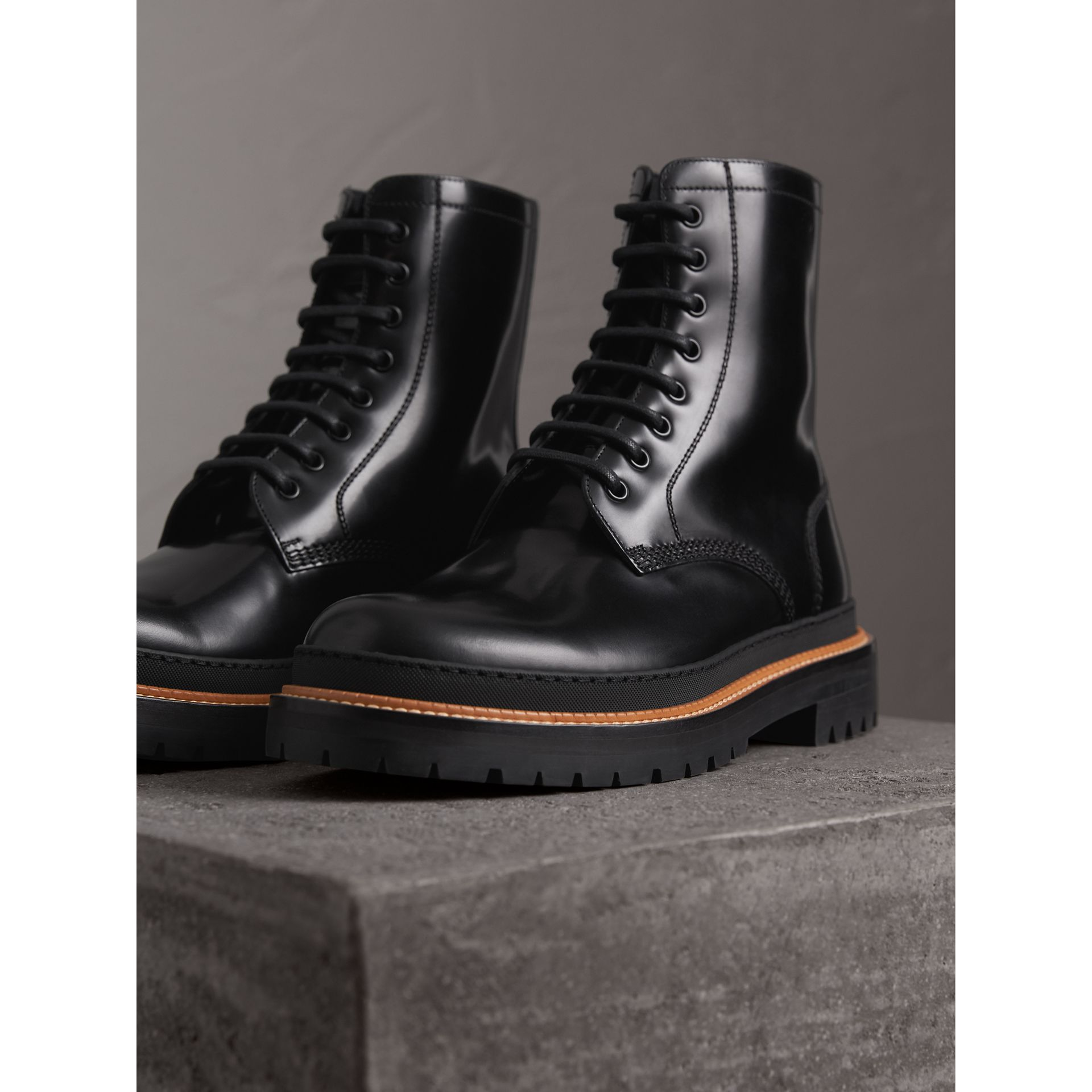 Lace-up Polished Leather Boots in Black - Men | Burberry - gallery image 4