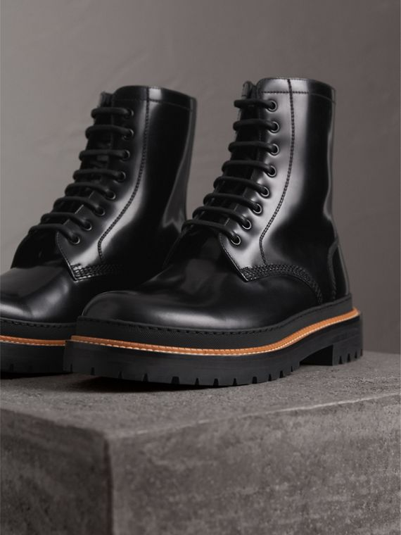 Lace-up Polished Leather Boots in Black - Men | Burberry - cell image 3