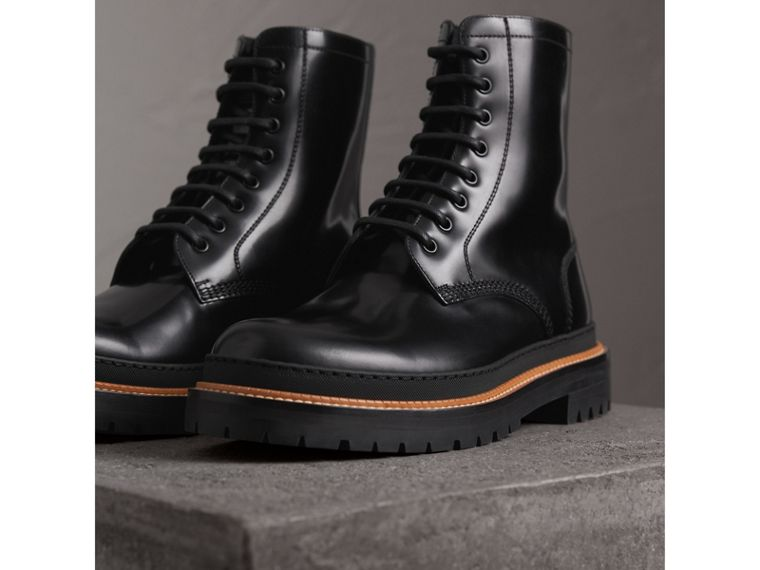 Lace-up Polished Leather Boots in Black - Men | Burberry - cell image 4