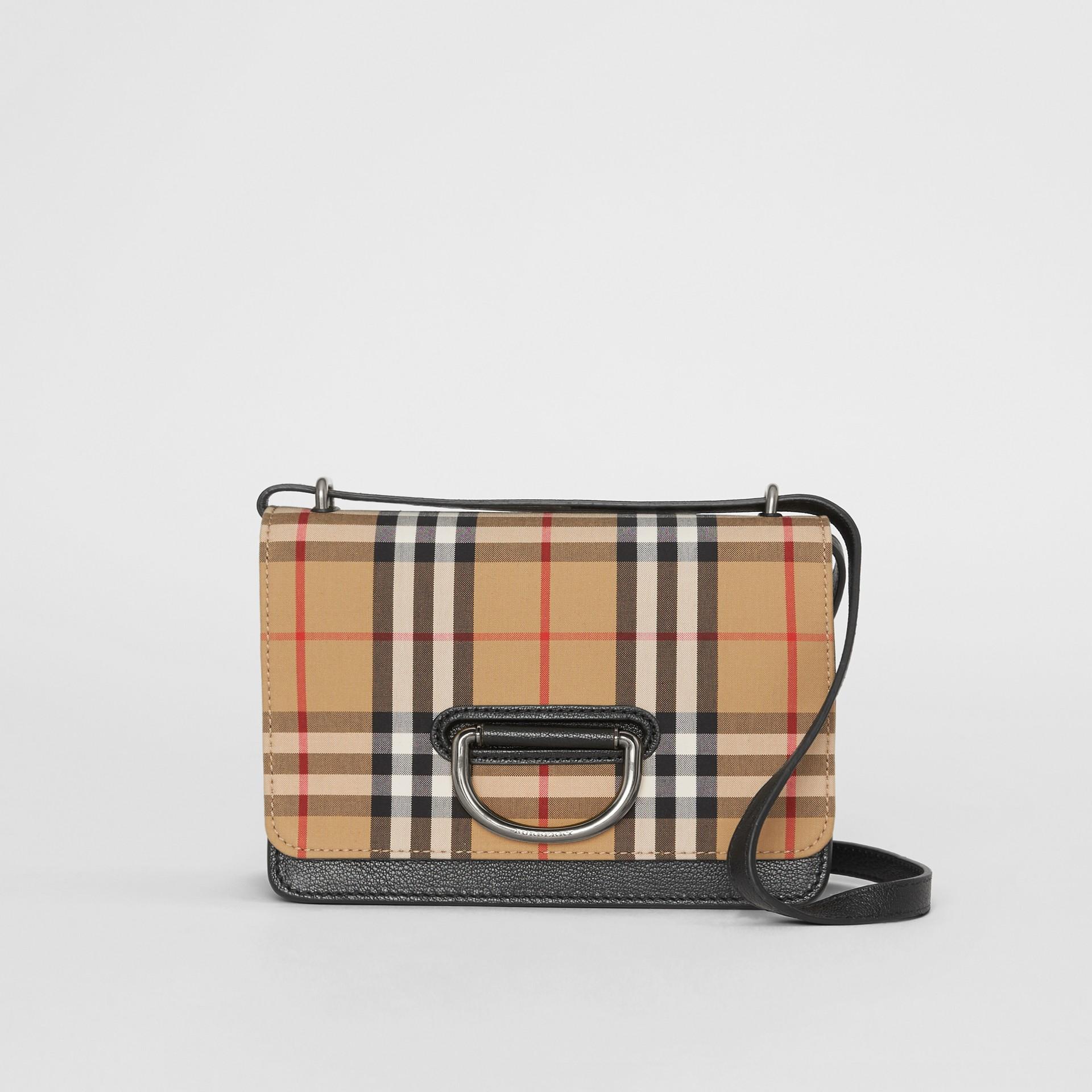 Petit sac TheD-ring en cuir et à motif Vintage check (Noir/jaune Antique) - Femme | Burberry - photo de la galerie 0