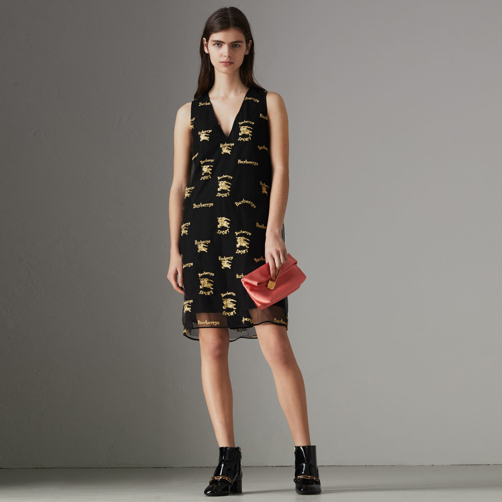 Archive Logo Embroidered Tulle Shift Dress in Black - Women | Burberry - gallery image 0