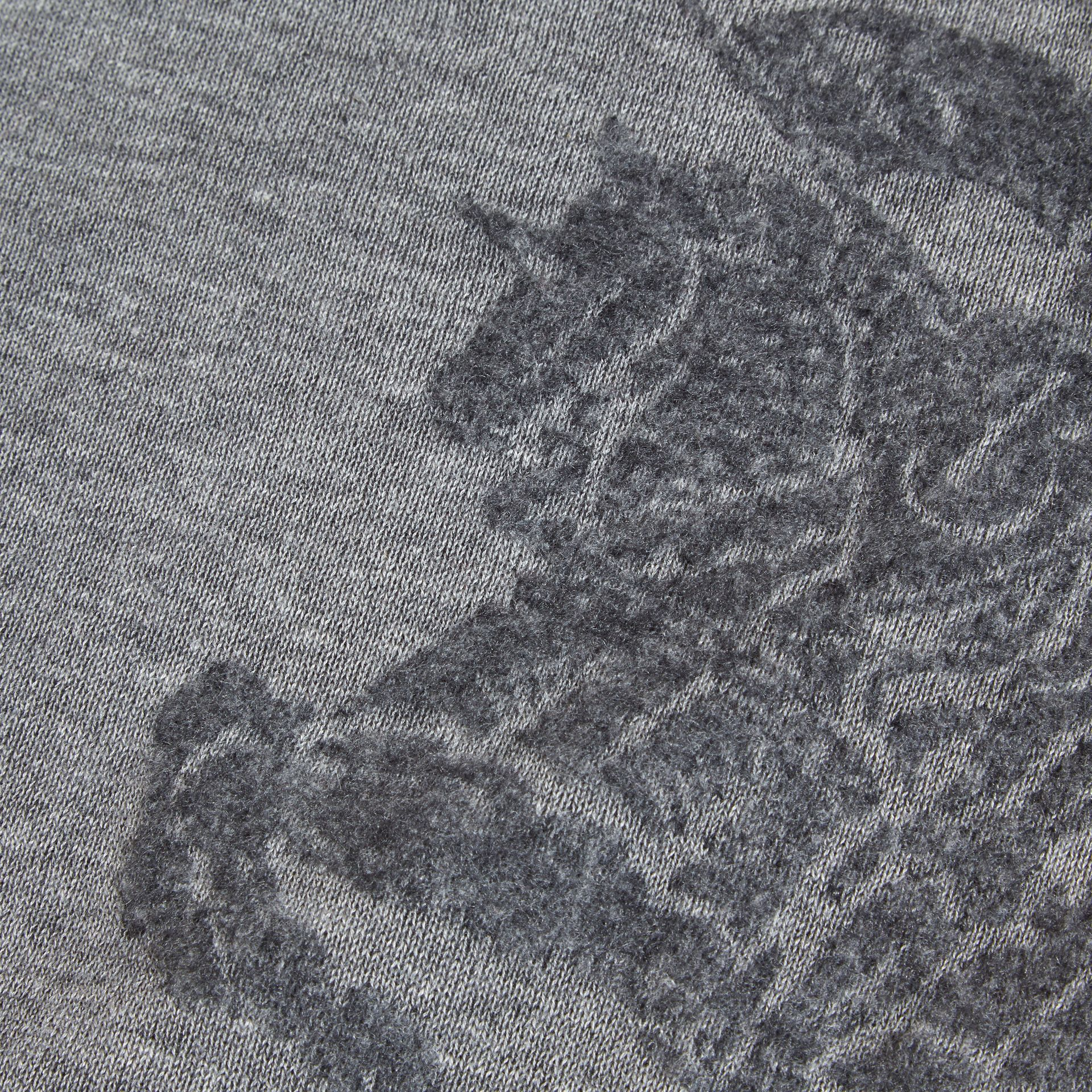 Light grey melange Equestrian Knight Detail Cashmere Sweater - gallery image 2