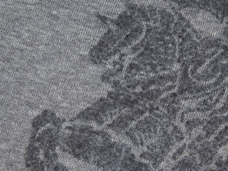 Light grey melange Equestrian Knight Detail Cashmere Sweater - cell image 1