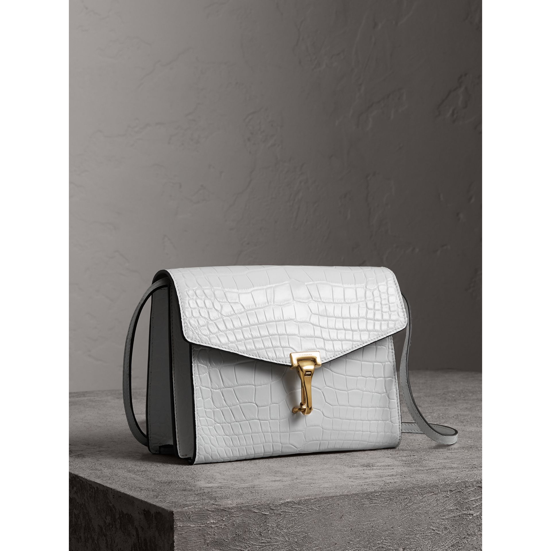 Small Alligator Crossbody Bag in Chalk White - Women | Burberry - gallery image 7