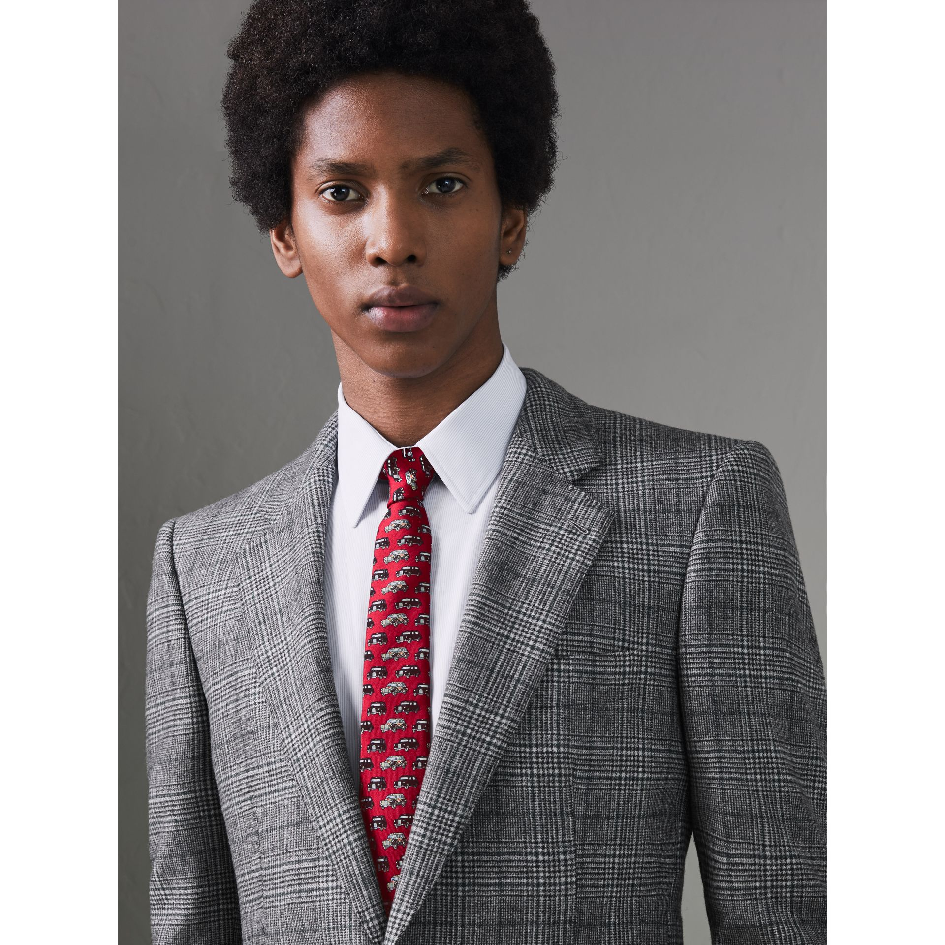Slim Cut Taxi Print Silk Tie in Crimson Pink - Men | Burberry - gallery image 2