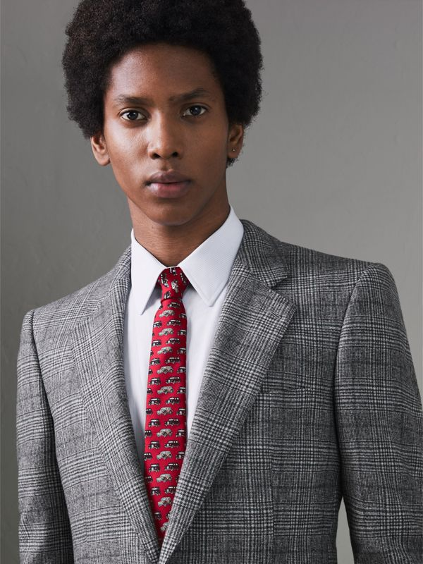 Slim Cut Taxi Print Silk Tie in Crimson Pink - Men | Burberry - cell image 2
