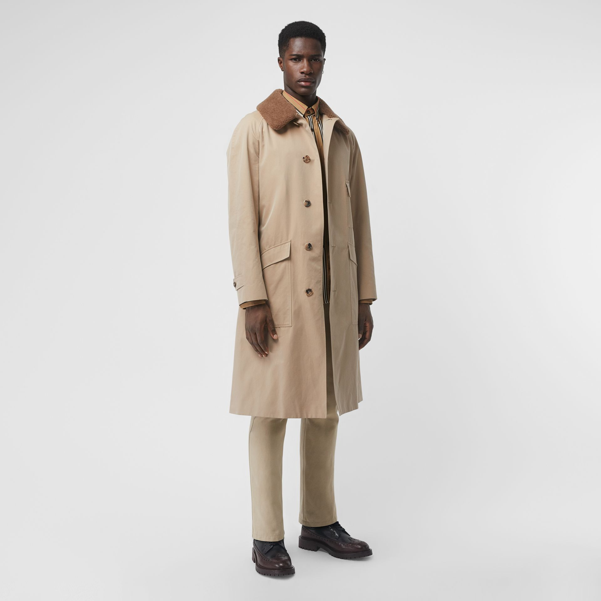 Detachable Shearling Collar Cotton Car Coat in Honey | Burberry Singapore - gallery image 0