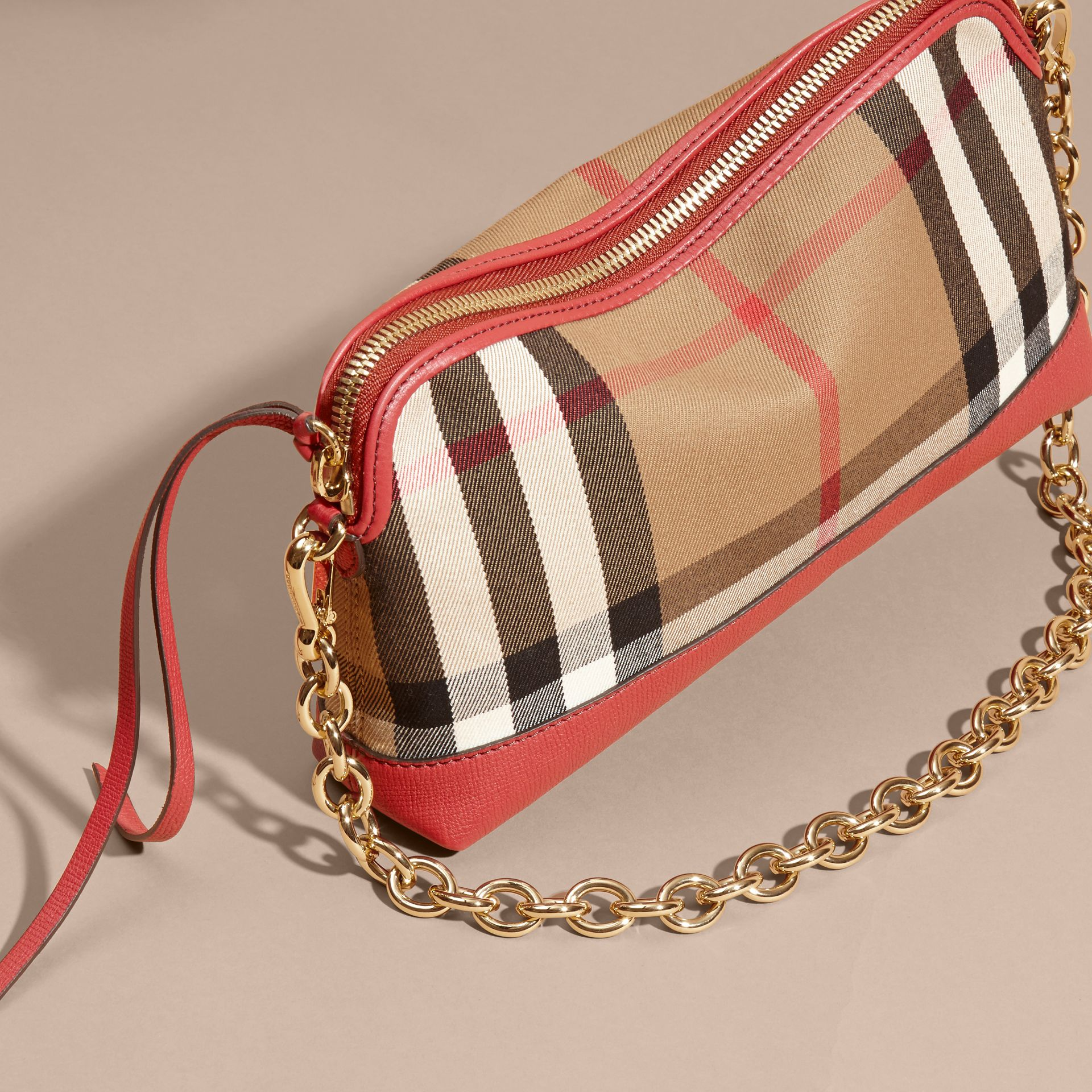 House Check and Leather Clutch Bag in Russet Red - Women | Burberry - gallery image 8