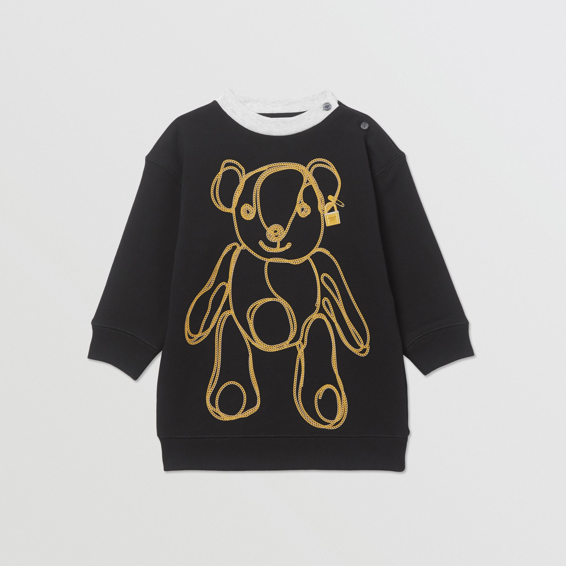Chain Print Cotton Sweater Dress in Black - Children | Burberry Hong Kong S.A.R - gallery image 0