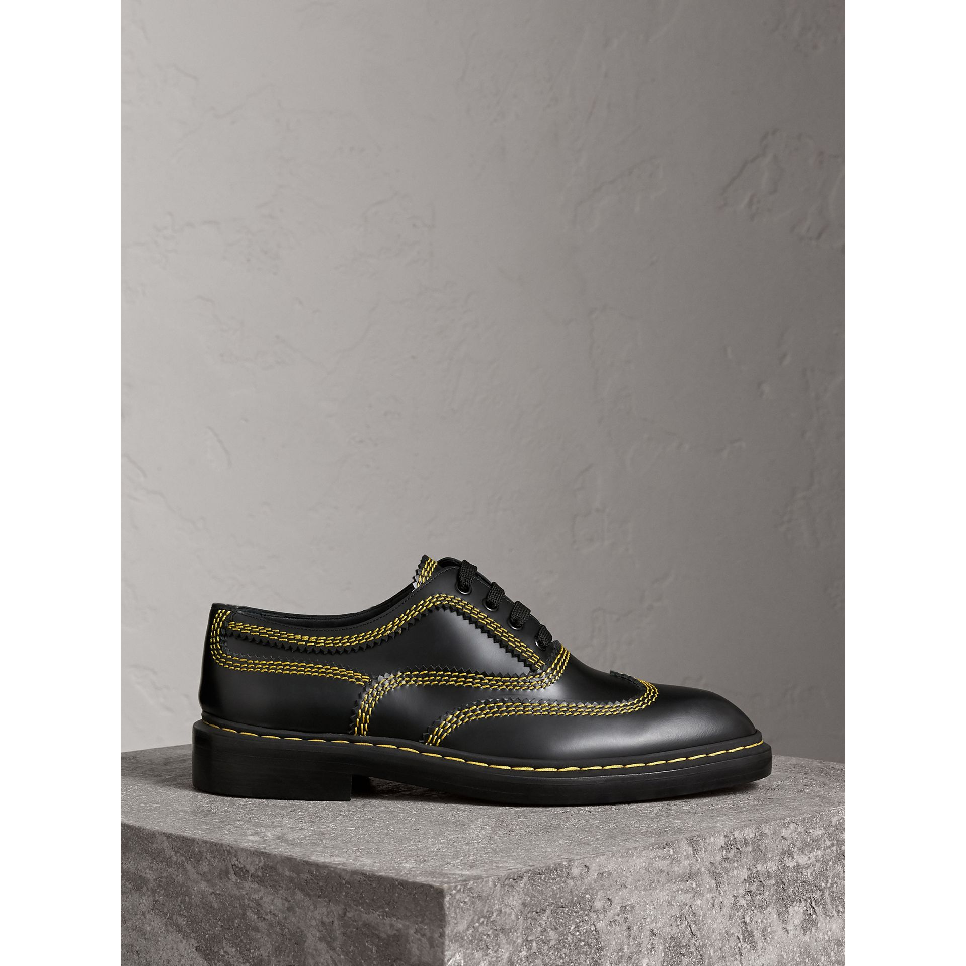 Topstitched Leather Derby Shoes in Black - Men | Burberry - gallery image 5