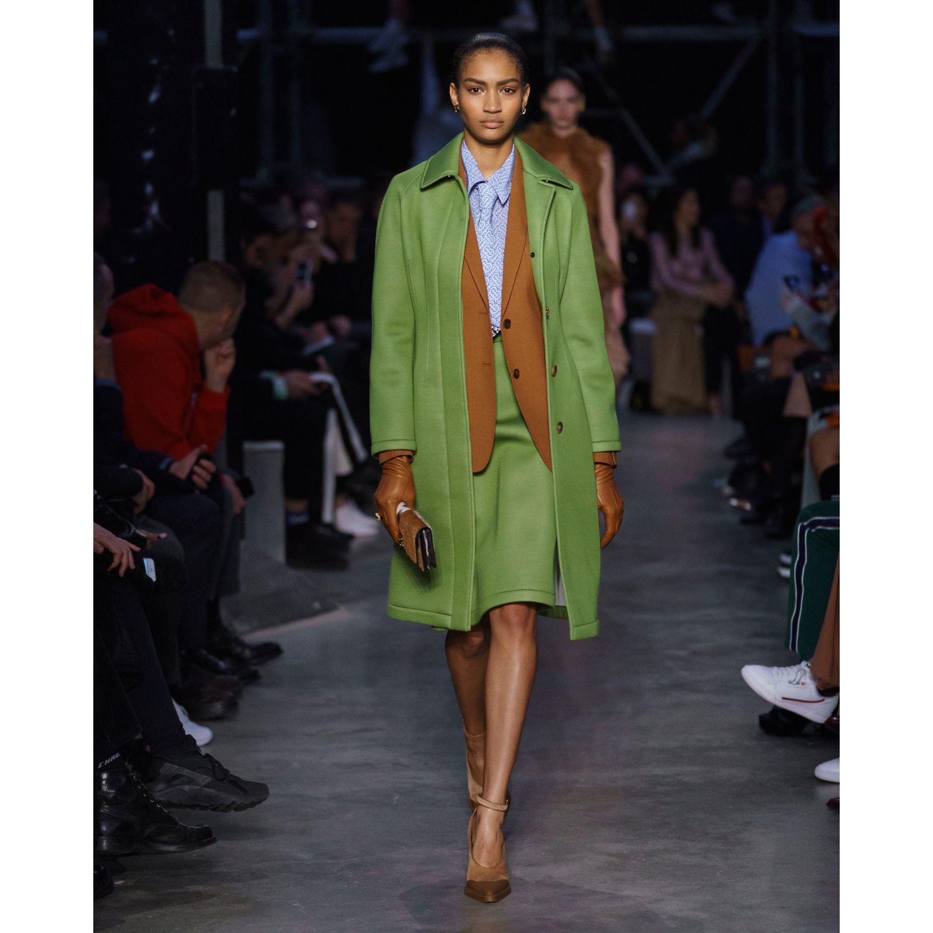 Bonded Neoprene Tailored Car Coat in Cedar Green - Women | Burberry - gallery image 6