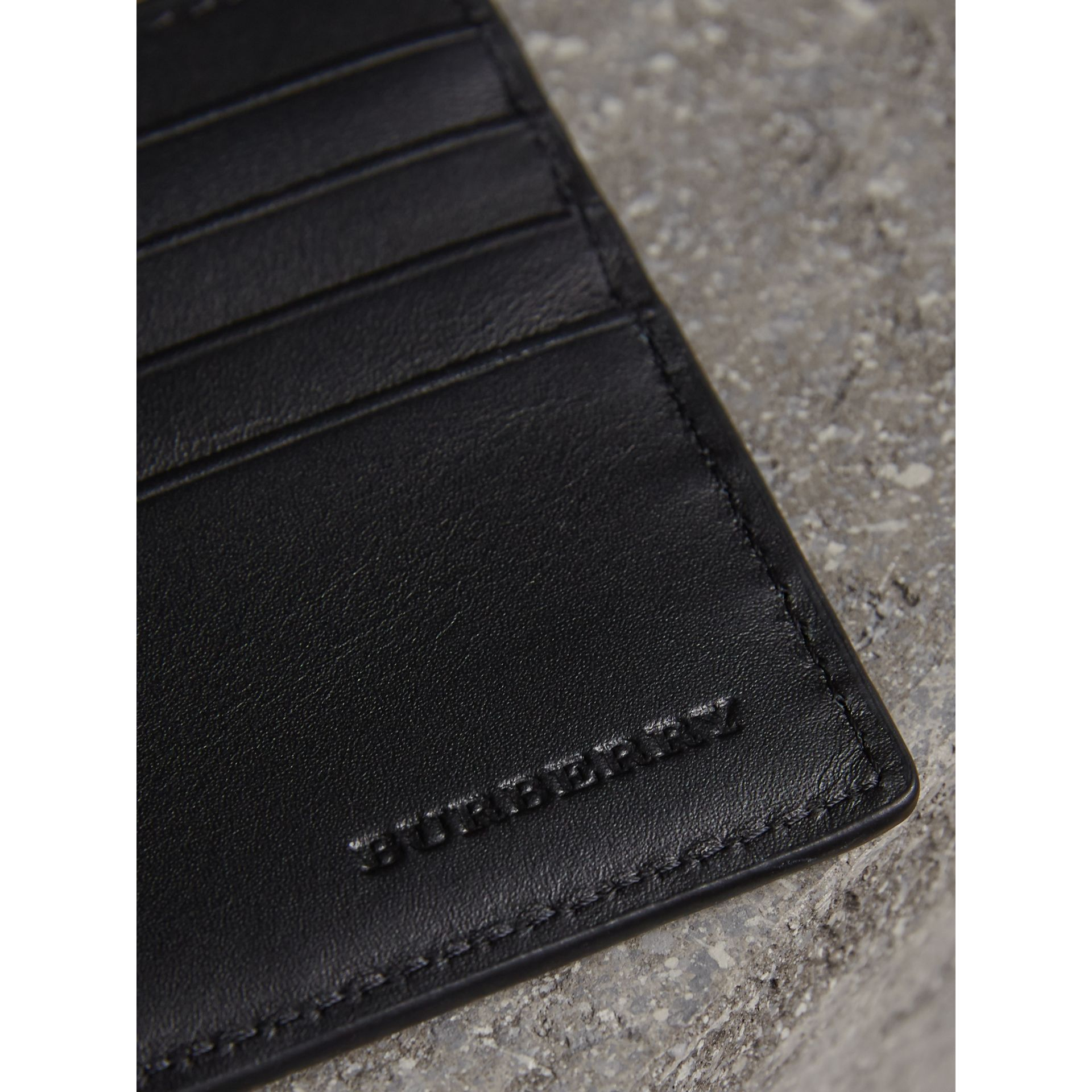 London Check International Bifold ID Coin Wallet in Navy/black - Men | Burberry - gallery image 2