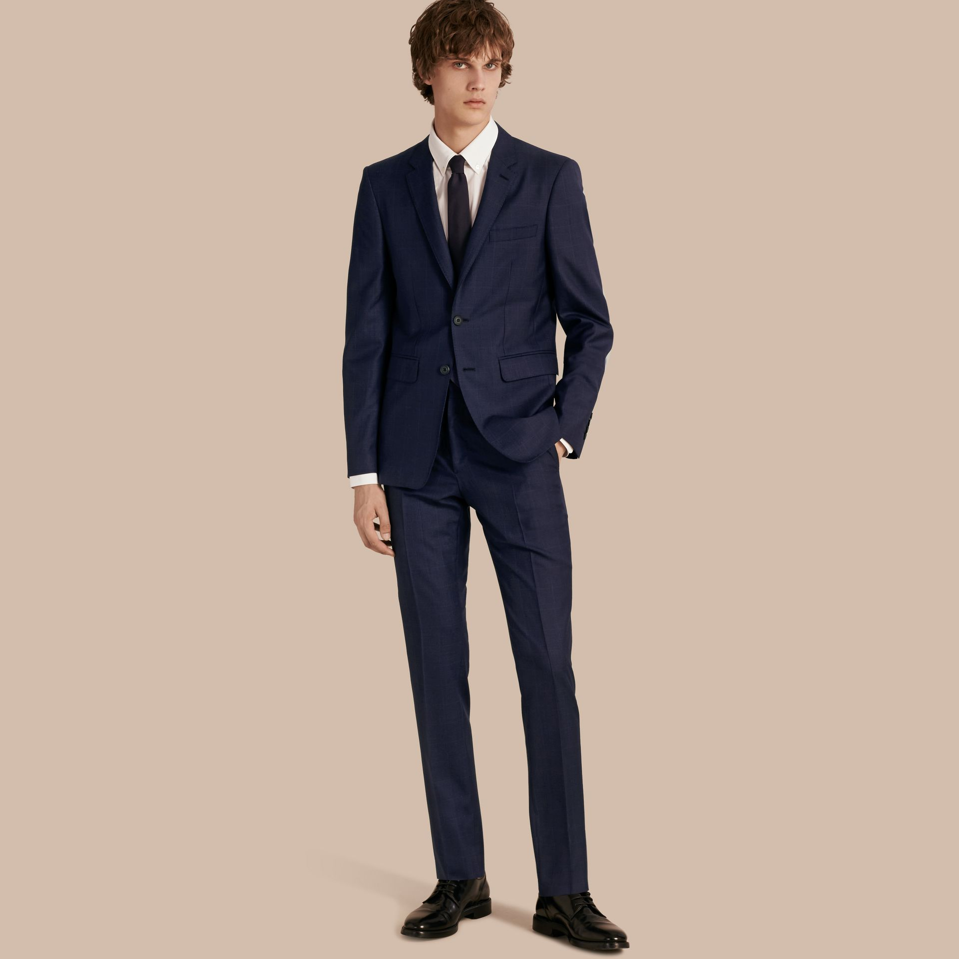 Navy Slim Fit Check Wool Part-canvas Suit - gallery image 1