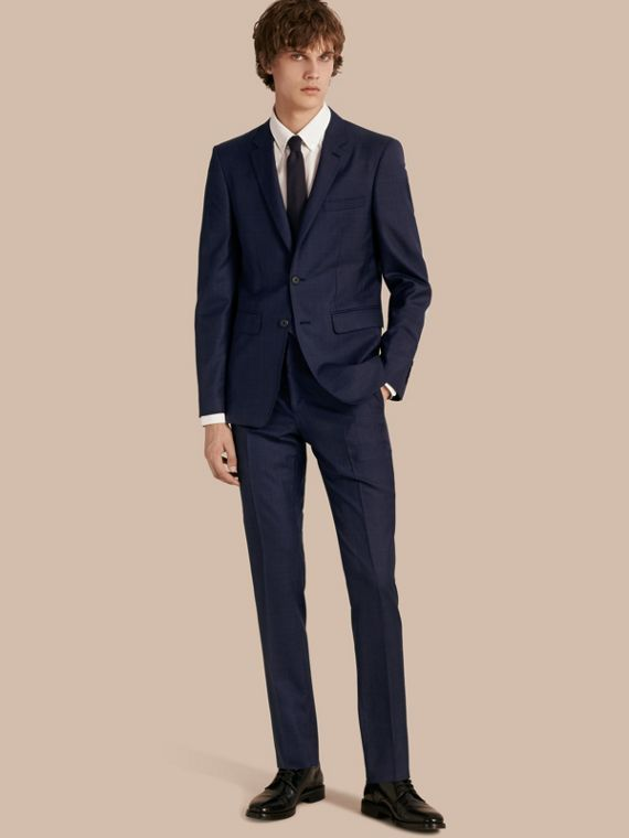 Slim Fit Check Wool Part-canvas Suit