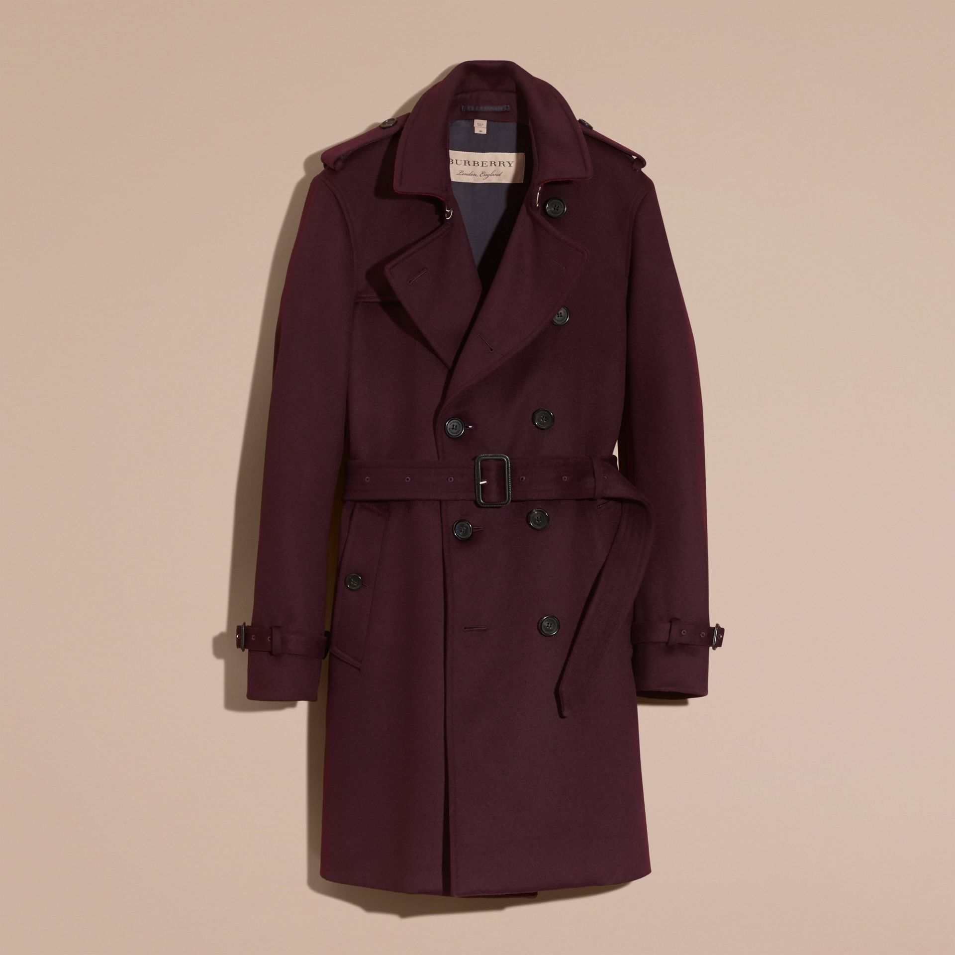 Plum Cashmere Trench Coat Plum - gallery image 4