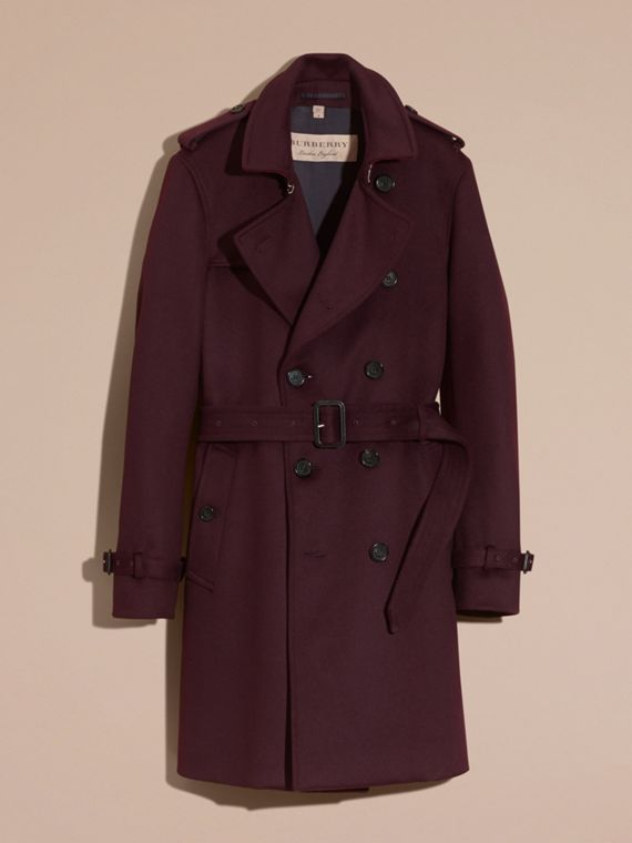 Cashmere Trench Coat Plum - cell image 3