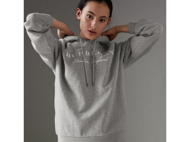 Embroidered Hooded Sweatshirt in Pale Grey Melange - Women | Burberry - cell image 4