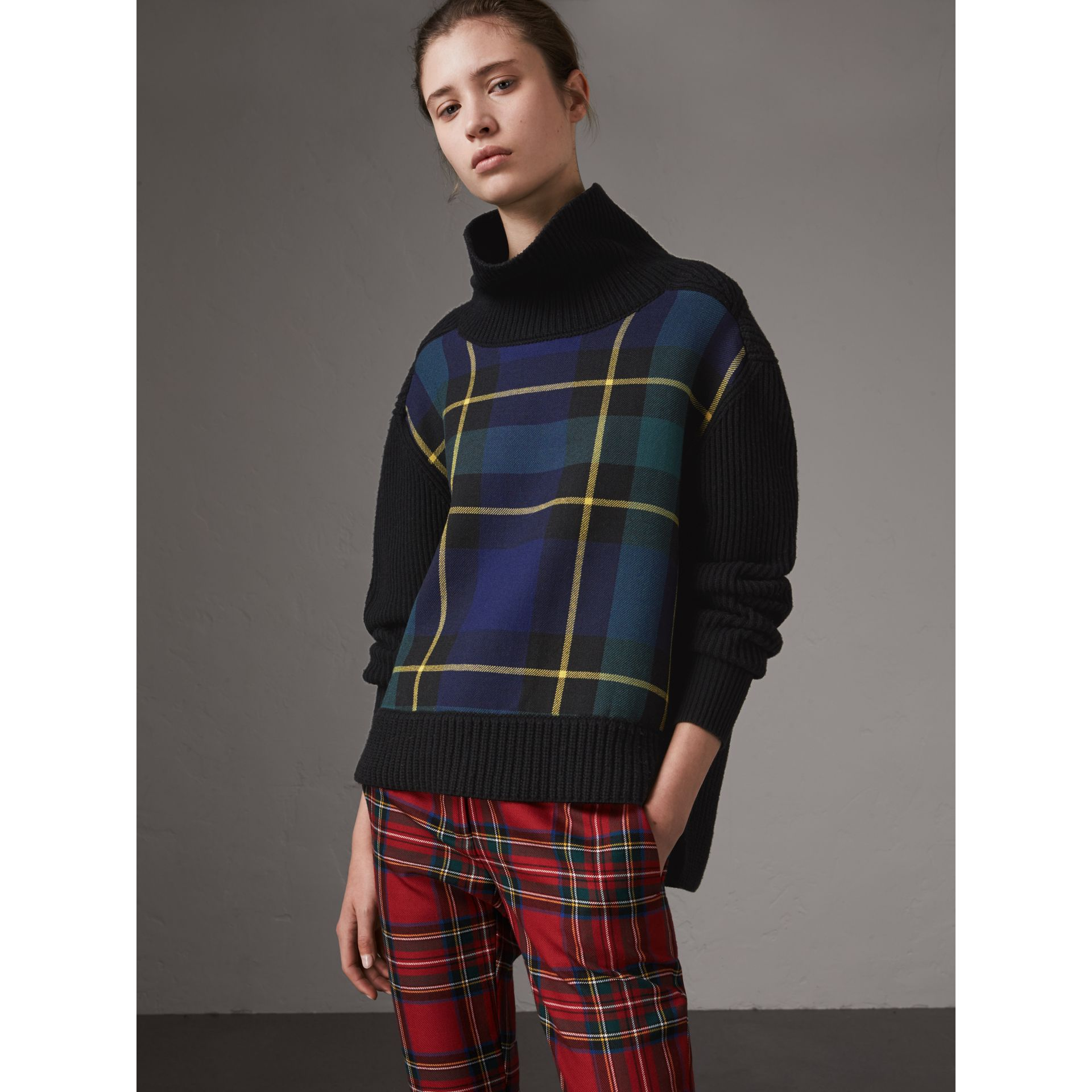 Tartan Panel Wool Cashmere Roll-neck Sweater in Black - Women | Burberry - gallery image 0