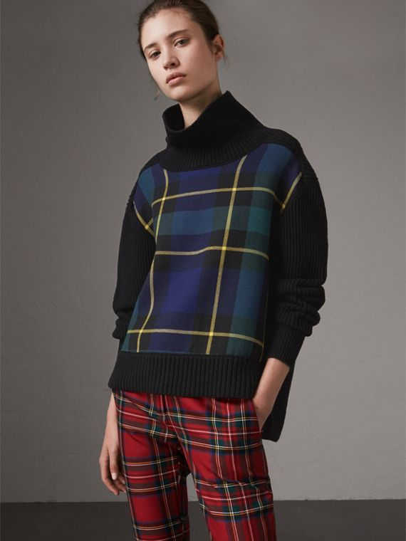 Tartan Panel Wool Cashmere Turtleneck Sweater in Black