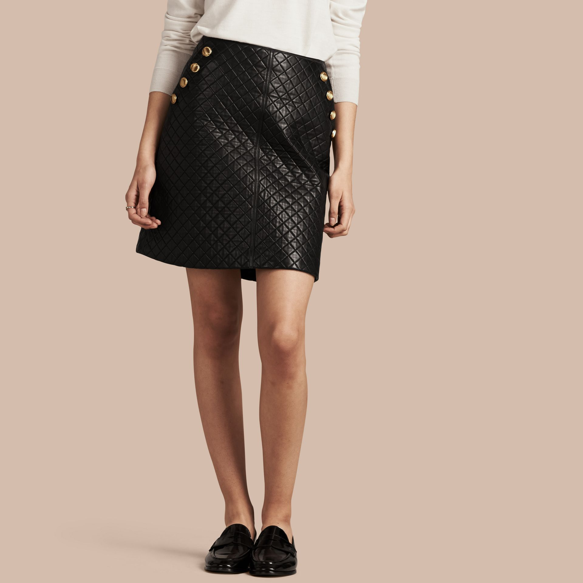 Black Quilted Lambskin A-Line Skirt - gallery image 1