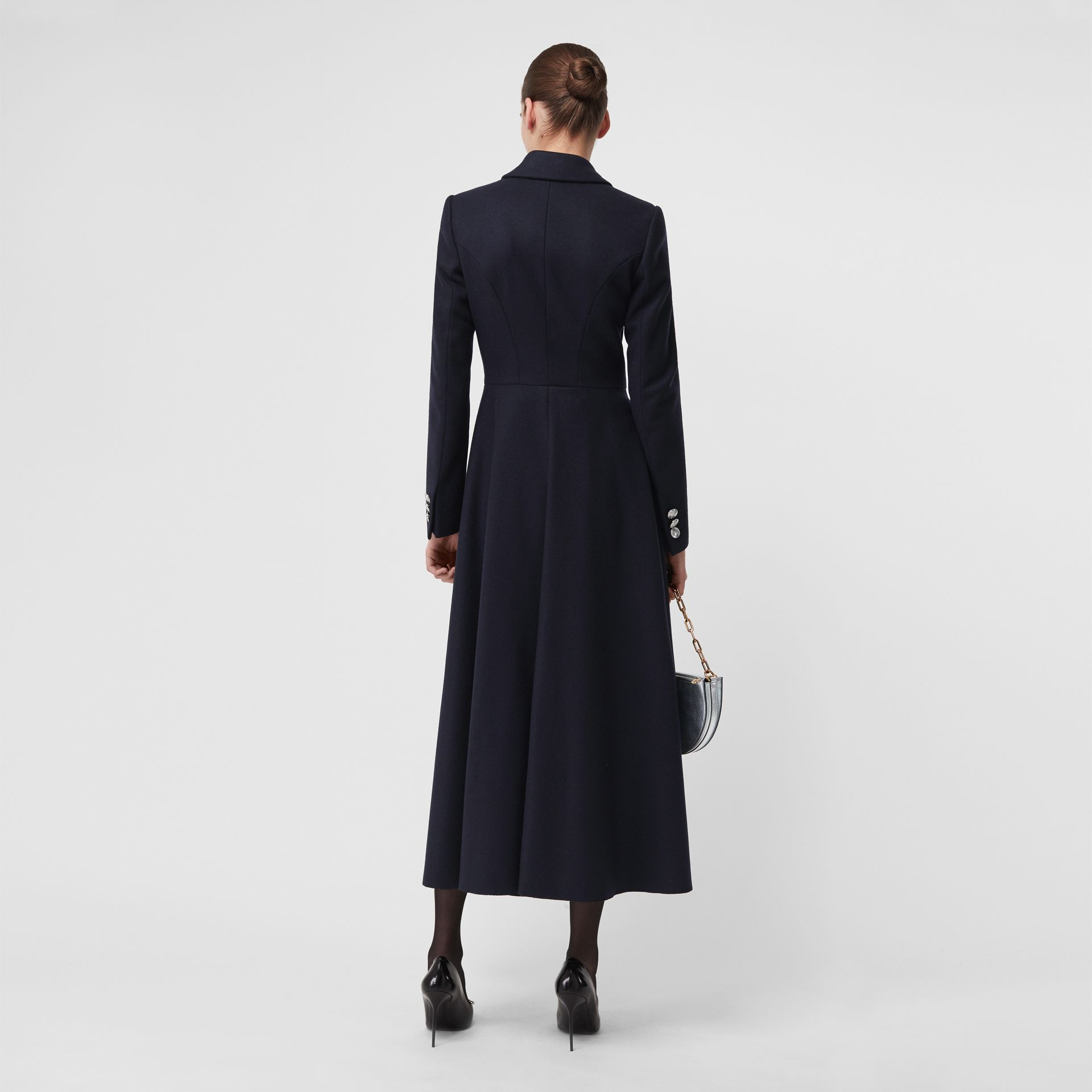 Melton Wool Tailored Coat in Navy - Women | Burberry - gallery image 2
