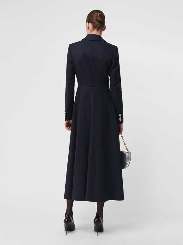 Melton Wool Tailored Coat in Navy - Women | Burberry - cell image 2