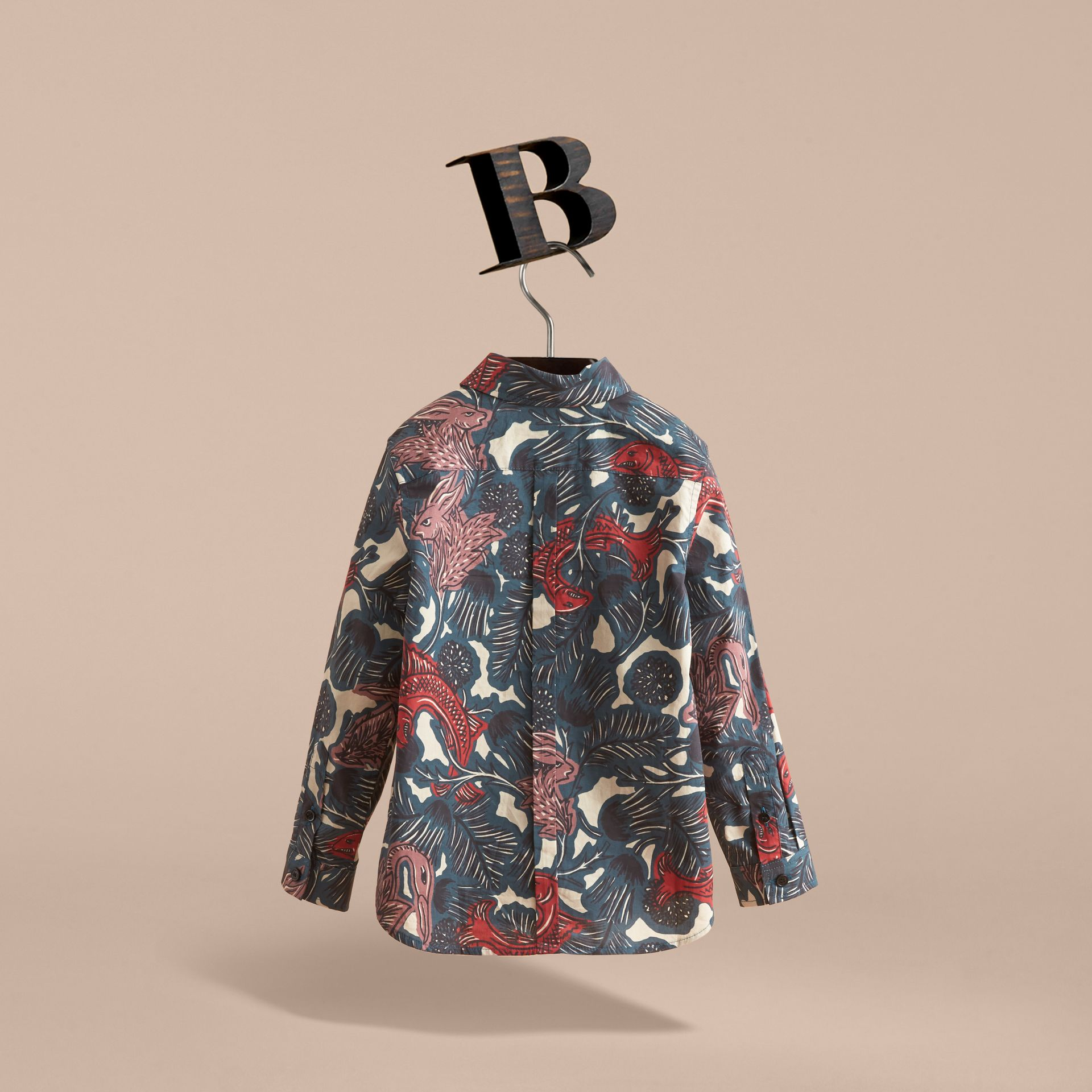 Beasts Print Cotton Shirt in Mineral Blue - Boy | Burberry - gallery image 4