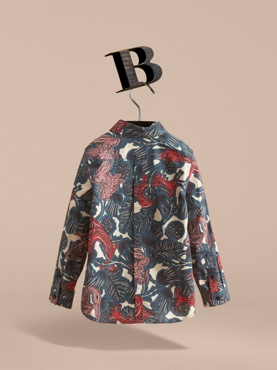 Beasts Print Cotton Shirt in Mineral Blue - Boy | Burberry - cell image 3