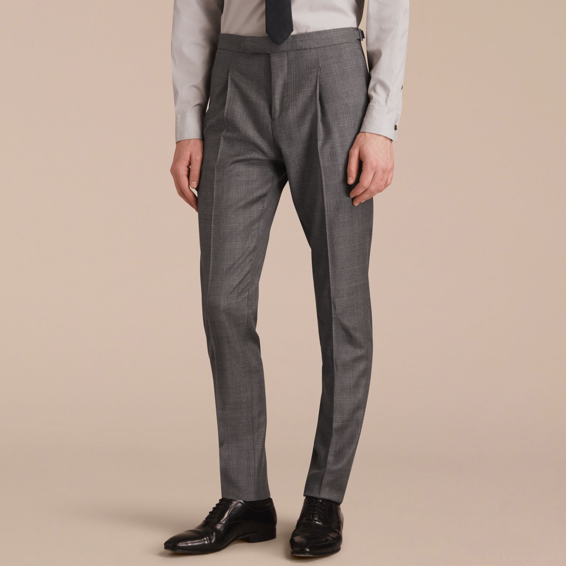 Slim Fit Prince of Wales Check Wool Part-canvas Suit in Pale Grey - Men | Burberry - gallery image 7