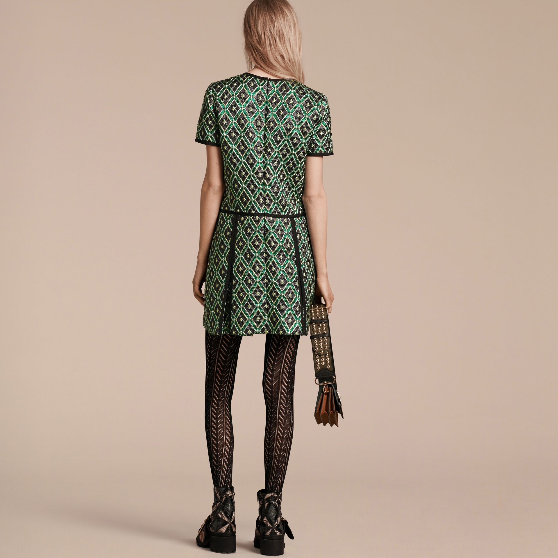 Deep green Patchwork Check Jacquard Dress - gallery image 3