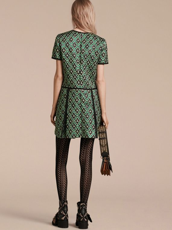 Deep green Patchwork Check Jacquard Dress - cell image 2