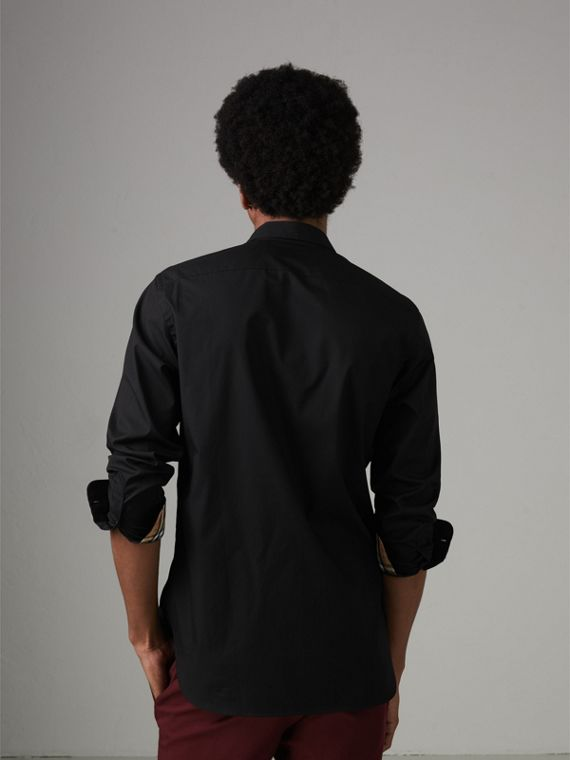 Check Cuff Stretch Cotton Poplin Shirt in Black - Men | Burberry - cell image 2