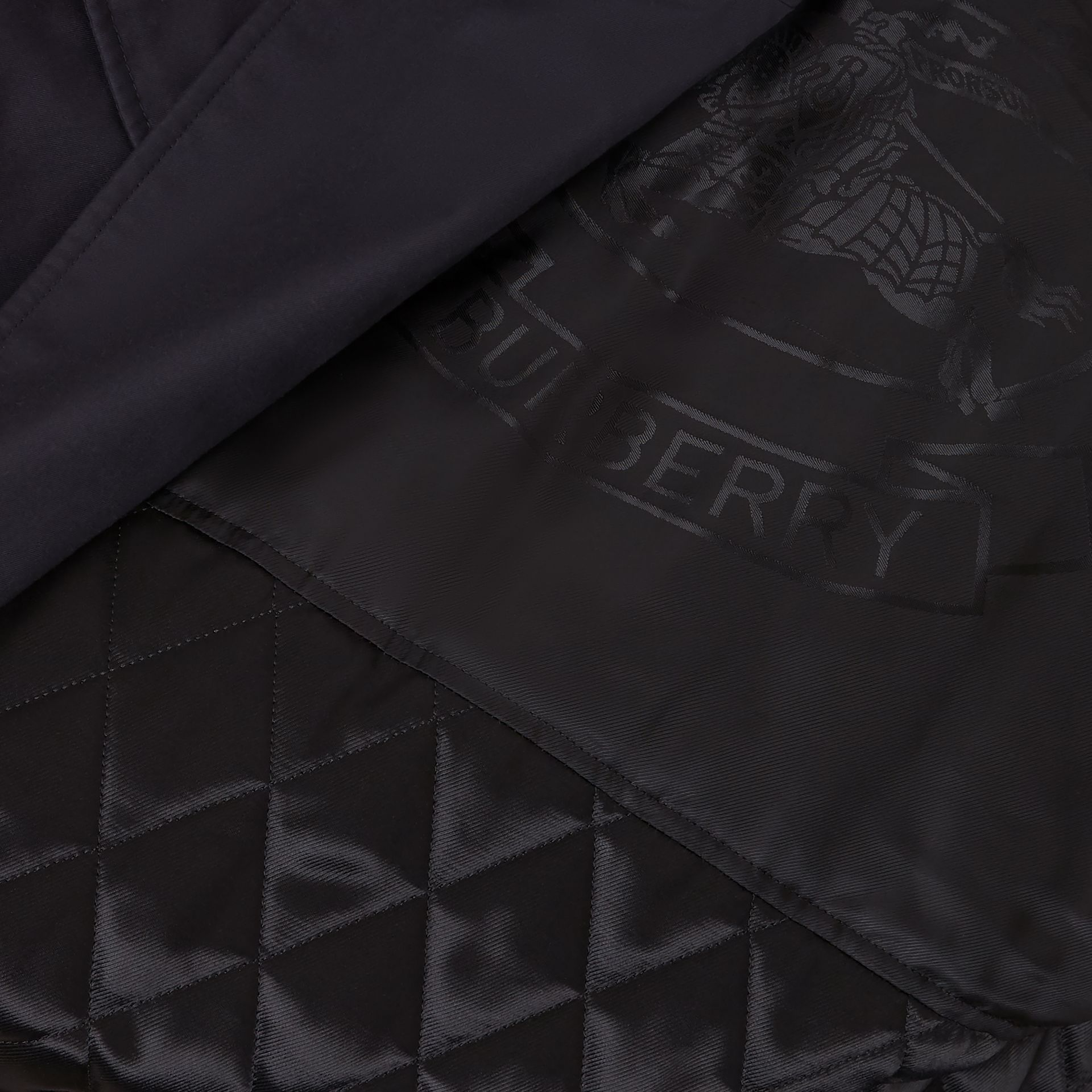 Cotton Gabardine Trench Coat with Warmer in Midnight - Men | Burberry United States - gallery image 7