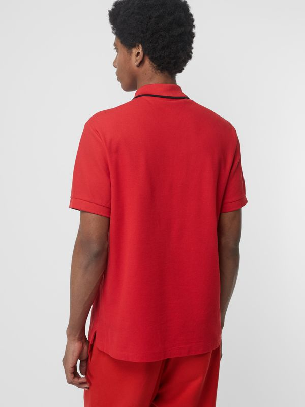 Embroidered Logo Cotton Piqué Polo Shirt in Military Red - Men | Burberry - cell image 2