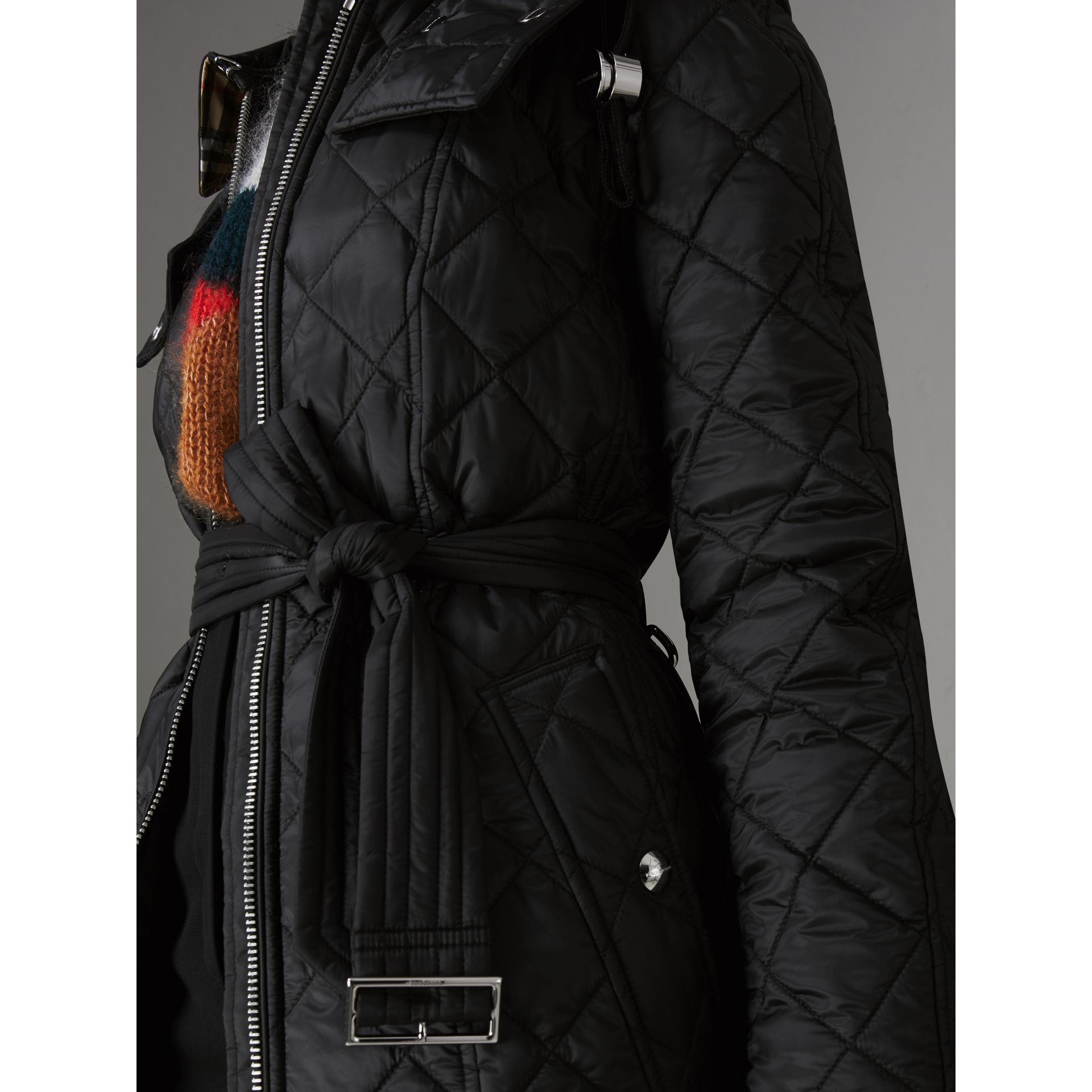 Detachable Hood Lightweight Diamond Quilted Coat in Black - Women | Burberry - gallery image 1