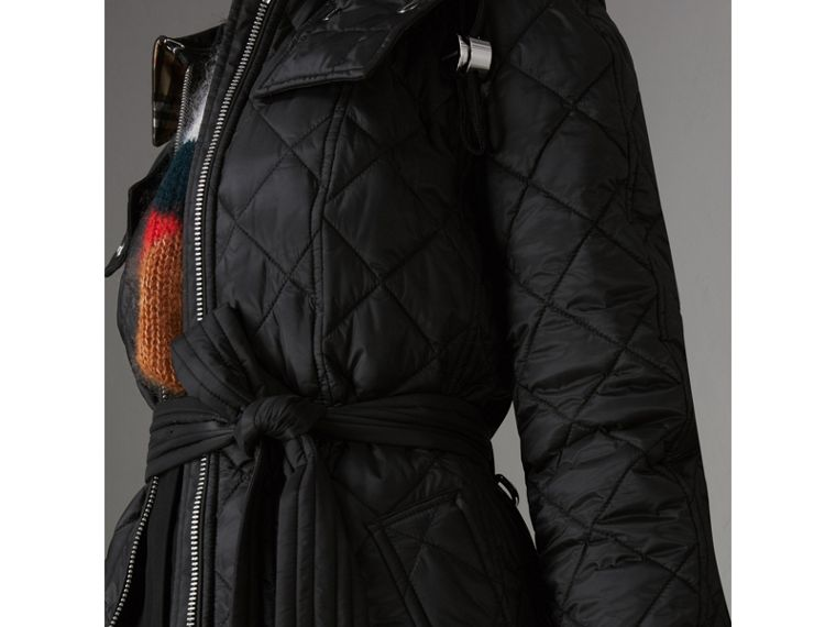 Detachable Hood Lightweight Diamond Quilted Coat in Black - Women | Burberry - cell image 1