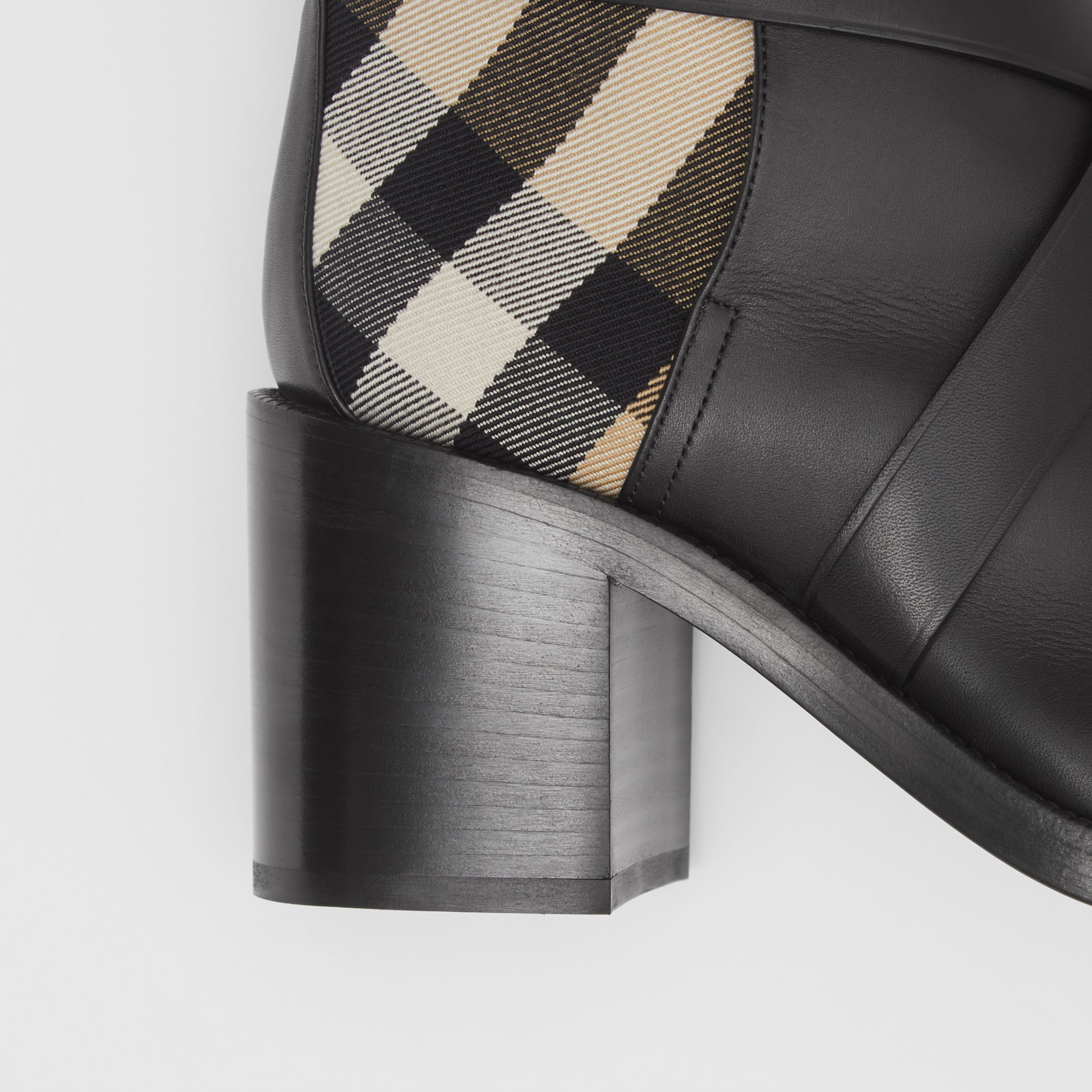 Vintage Check and Leather Ankle Boots in Black/archive Beige - Women | Burberry - 2