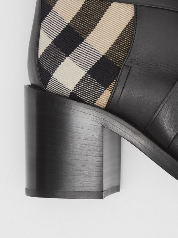 Vintage Check and Leather Ankle Boots in Black/archive Beige - Women | Burberry United Kingdom - cell image 1
